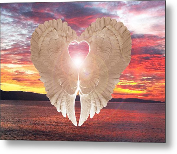 Metal Print featuring the digital art Angel Heart At Sunset by Eric Kempson
