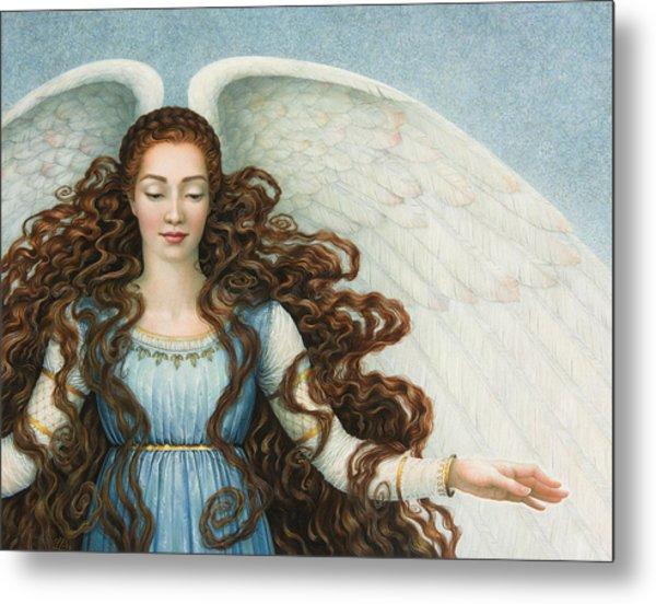 Angel In A Blue Dress Metal Print