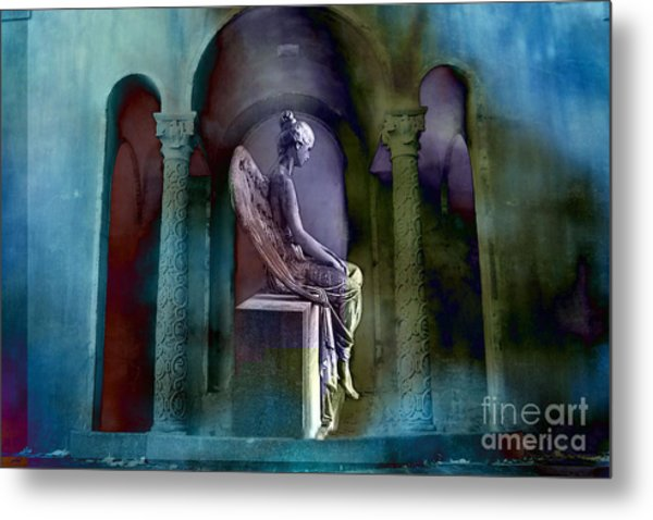 Angel Mourning Sadness - Haunting Fantasy Surreal Angel Art Teal Aqua Purple  Metal Print by Kathy Fornal