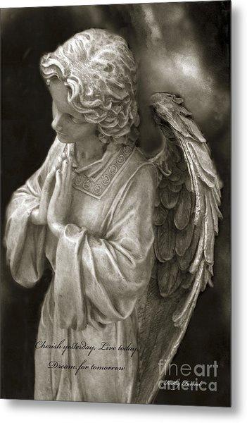 Angel Praying - Inspirational Angel Art Dreamy Surreal Angel In Prayer  Metal Print