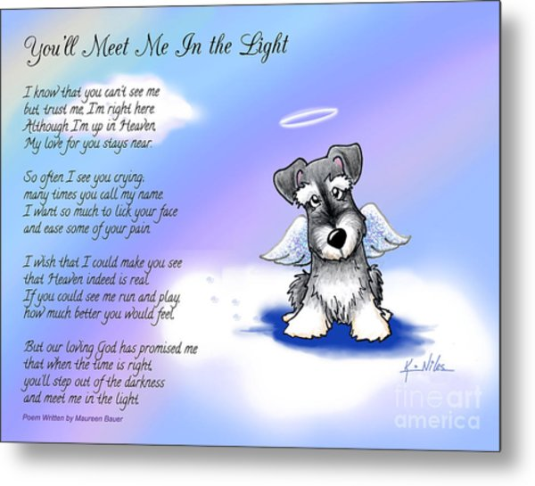 Angel Schnauzer With Poem Metal Print by Kim Niles
