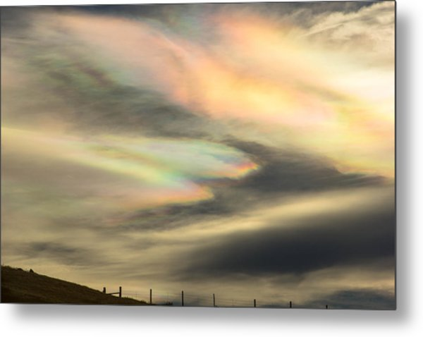 Angel Wings In Rainbow Clouds Metal Print