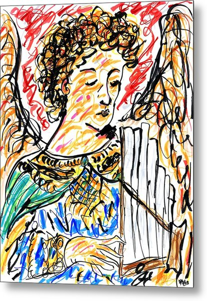 Angel With Pipes - Final Metal Print