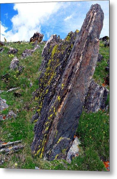 Angled Rocks With Lichen Metal Print