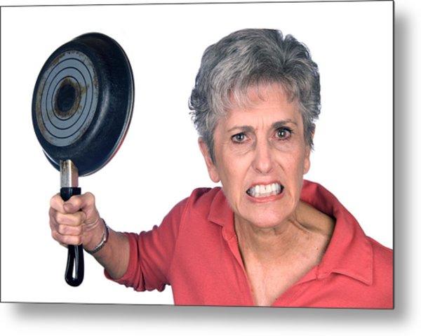 Angry Mother And Frying Pan Metal Print