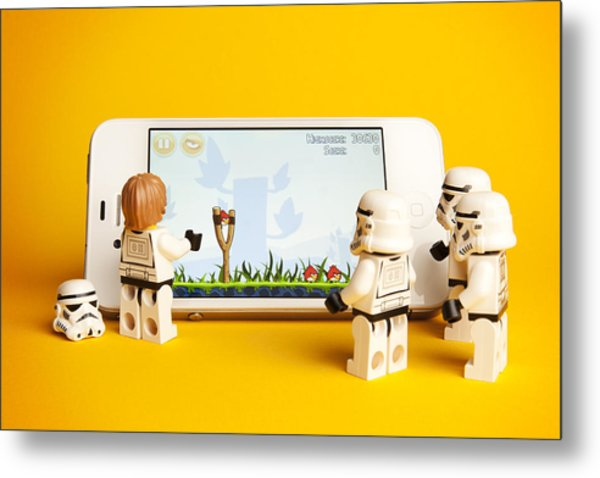 Angry Birds Storm Troopers Metal Print