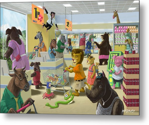 Animal Supermarket Metal Print