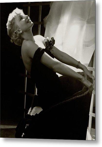 Ann Sothern Kneeling On An Armchair Metal Print
