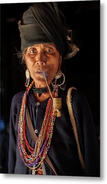 Ann Tribe Woman, Kyaing Tong, Golden Metal Print