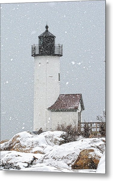 Metal Print featuring the photograph Annisquam Light-snow Storm 1 by Michael Hubley