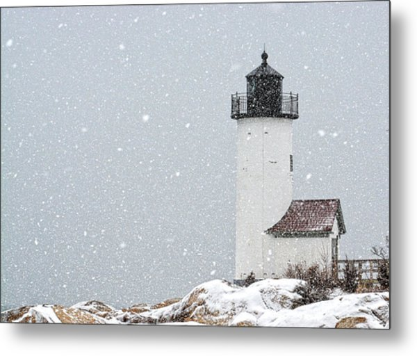 Metal Print featuring the photograph Annisquam Light-snow Storm 2 by Michael Hubley