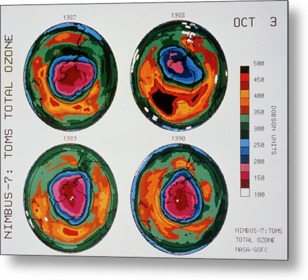 Antarctic Ozone Hole: Toms Comparison 1987-1990 Metal Print by Nasa/science Photo Library