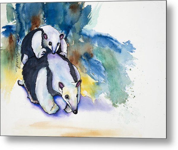 Anteater With Baby Metal Print