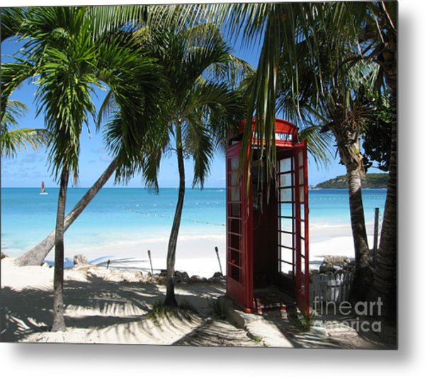 Antigua - Phone Booth Metal Print