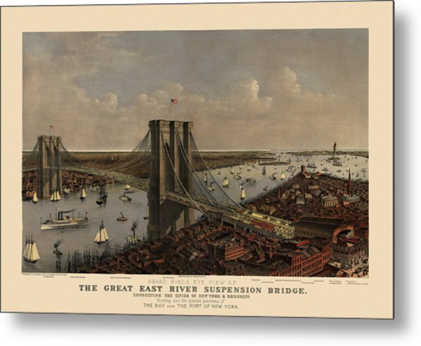 Antique Birds Eye View Of The Brooklyn Bridge And New York City By Currier And Ives - 1885 Metal Print