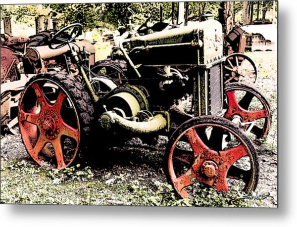 Antique Case Tractor Red Wheels Metal Print