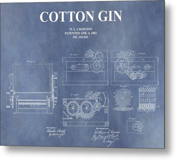 Antique Cotton Gin Patent Metal Print