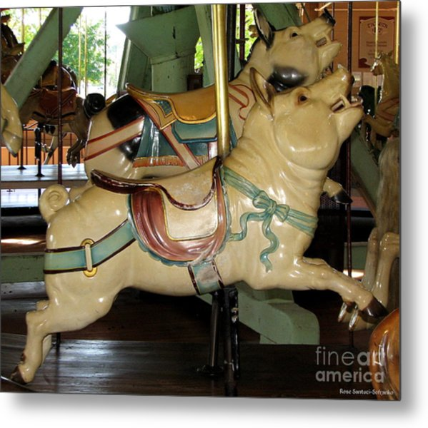 Metal Print featuring the photograph Antique Dentzel Menagerie Carousel Pigs by Rose Santuci-Sofranko