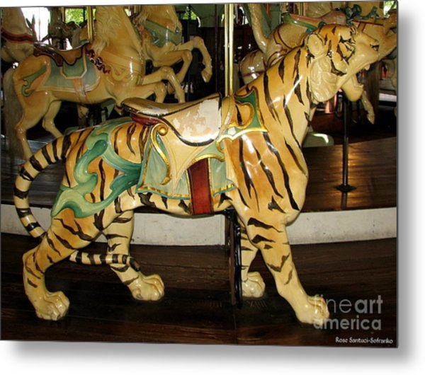 Metal Print featuring the photograph Antique Dentzel Menagerie Carousel Tiger by Rose Santuci-Sofranko