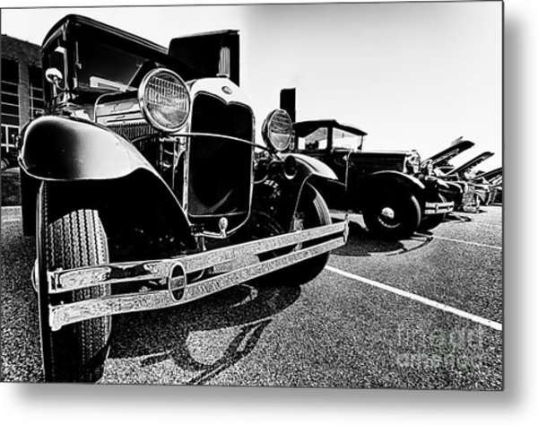 Antique Ford Car At Car Show Metal Print