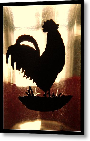Antique Glass Chicken Silhouette Metal Print
