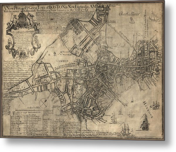 Antique Map Of Boston By William Price - 1769 Metal Print