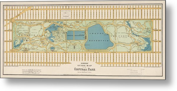 Antique Map Of Central Park New York City By Oscar Hinrichs - 1875 Metal Print