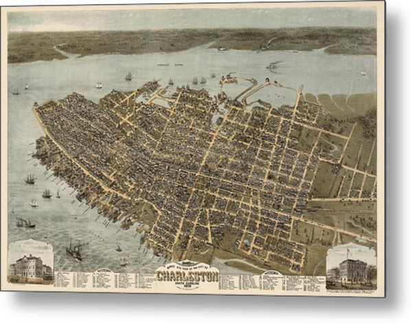 Antique Map Of Charleston South Carolina By C. N. Drie - 1872 Metal Print