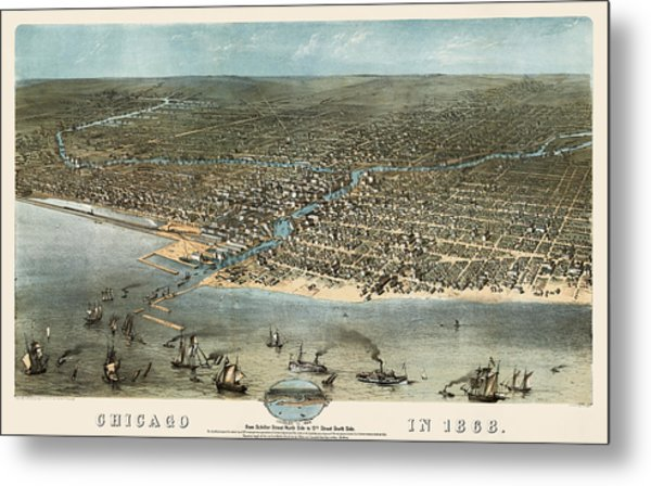 Antique Map Of Chicago Illinois By A. Ruger - 1868 Metal Print