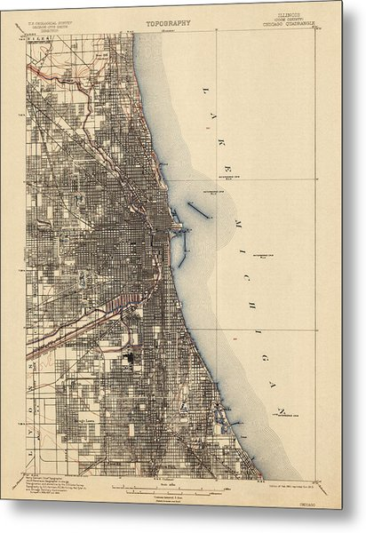 Antique Map Of Chicago - Usgs Topographic Map - 1901 Metal Print