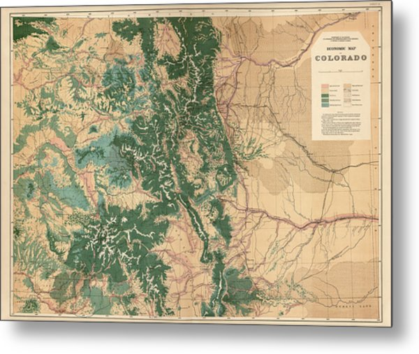 Antique Map Of Colorado - 1877 Metal Print by Blue Monocle