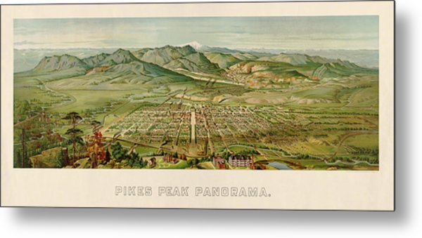 Antique Map Of Colorado Springs By H. Wellge - 1890 Metal Print