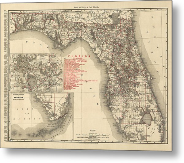 Antique Map Of Florida By Rand Mcnally And Company - 1900 Metal Print