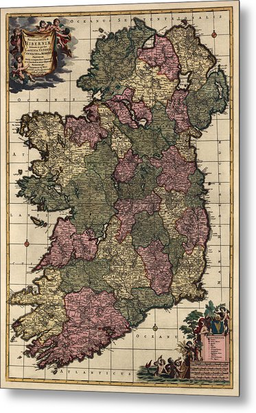 Antique Map Of Ireland By Frederik De Wit - Circa 1700 Metal Print