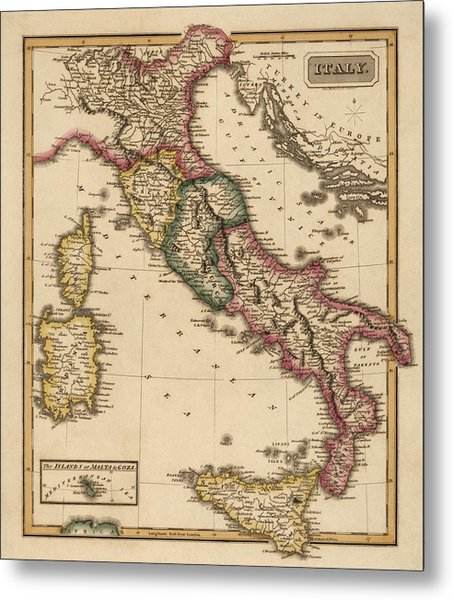 Antique Map Of Italy By Fielding Lucas - Circa 1817 Metal Print