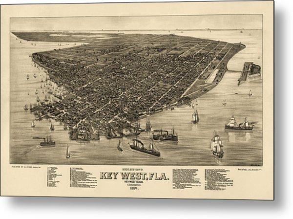 Antique Map Of Key West Florida By J. J. Stoner - 1884 Metal Print