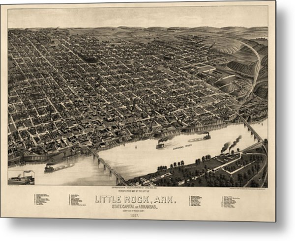 Antique Map Of Little Rock Arkansas By H. Wellge - 1887 Metal Print by Blue Monocle