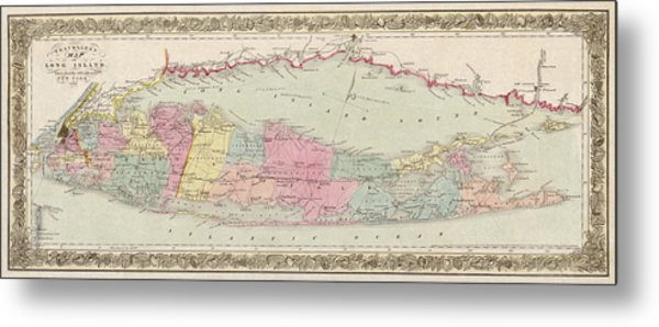 Antique Map Of Long Island By J.h. Colton And Co. - 1857 Metal Print