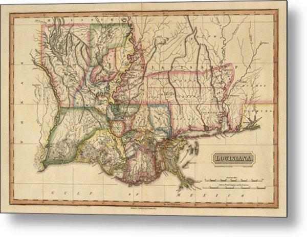 Antique Map Of Louisiana By Fielding Lucas - Circa 1817 Metal Print
