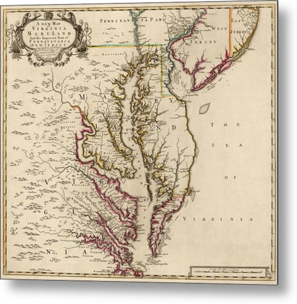 Antique Map Of Maryland And Virginia By John Senex - 1719 Metal Print