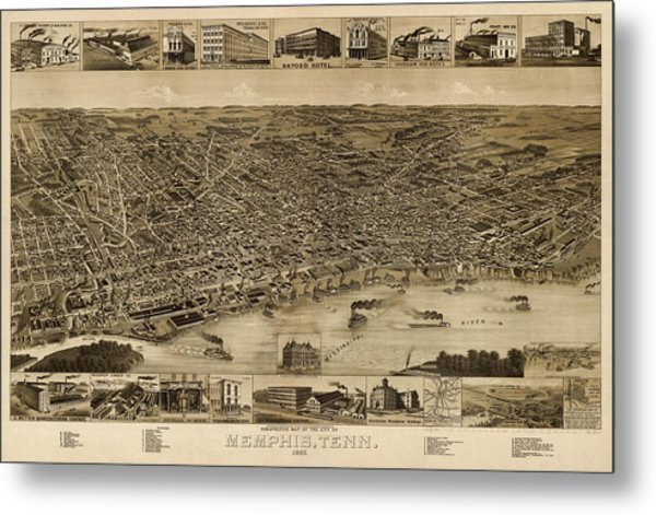 Antique Map Of Memphis Tennessee By H. Wellge - 1887 Metal Print