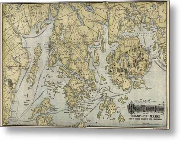 Antique Map Of Mount Desert Island And The Coast Of Maine - Circa 1900 Metal Print