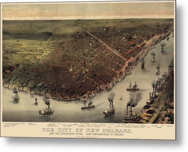 Antique Map Of New Orleans By Currier And Ives - Circa 1885 Metal Print
