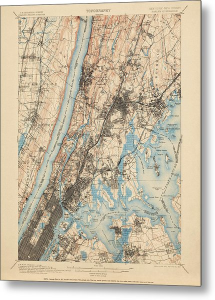 Antique Map Of New York City - Usgs Topographic Map - 1900 Metal Print
