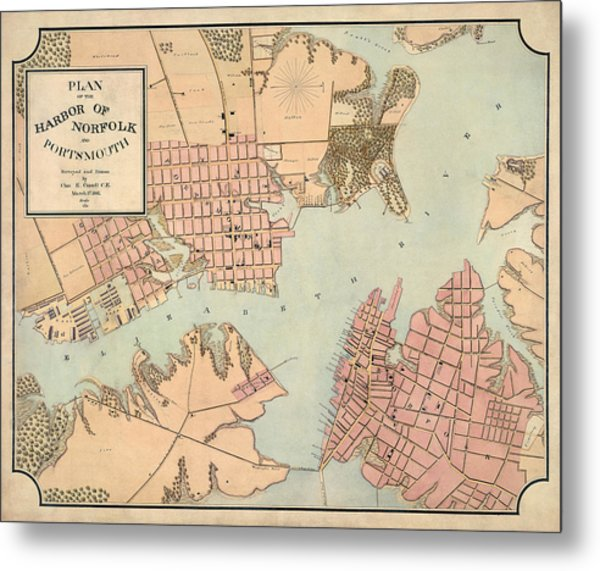 Antique Map Of Norfolk And Portsmouth Virginia By Charles E. Cassell - 1861 Metal Print