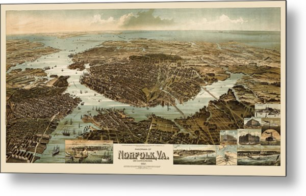 Antique Map Of Norfolk And Portsmouth Virginia By H. Wellge - 1892 Metal Print by Blue Monocle