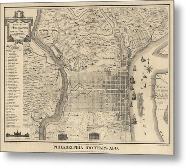 Antique Map Of Philadelphia By P. C. Varte - 1875 Metal Print