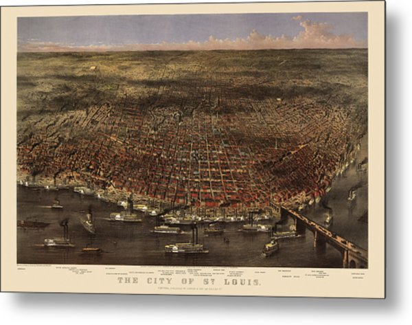 Antique Map Of Saint Louis By Currier And Ives - 1874 Metal Print
