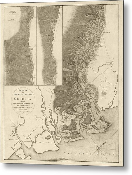 Antique Map Of Savannah Georgia By Archibald Campbell - 1780 Metal Print