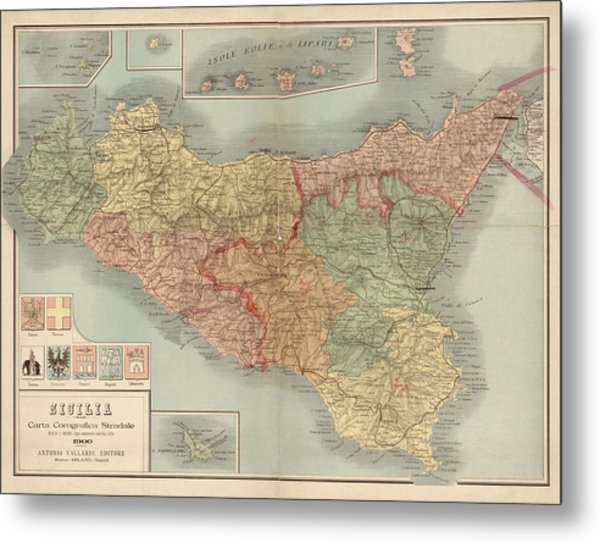 Antique Map Of Sicily Italy By Antonio Vallardi - 1900 Metal Print by Blue Monocle